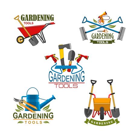Vector icons of farm gardening tools Vectores