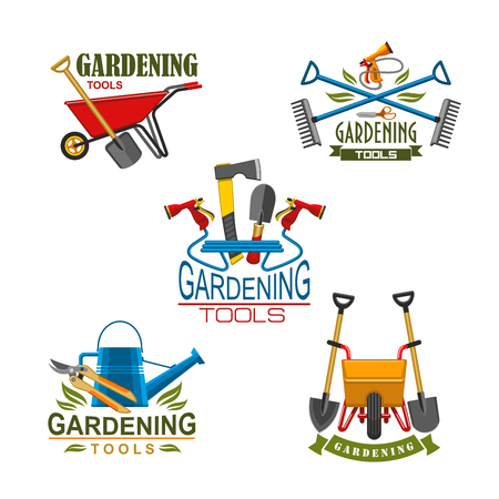 Vector icons of farm gardening tools Illusztráció