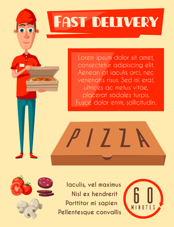Vector flat poster for pizza fast food delivery man