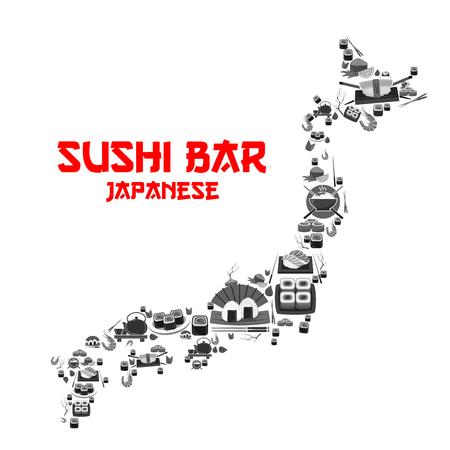 일본 스시 바 레스토랑 용 벡터 포스터