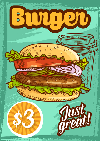 Fast food vector burger fastfood sketch poster