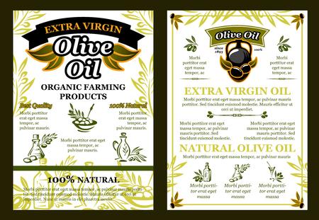 Vector olives poster for organic olive oil