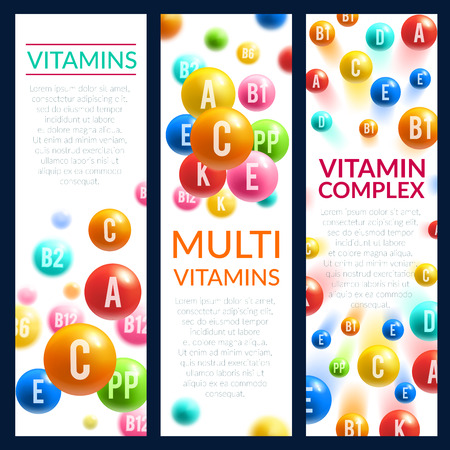 Vitamin and mineral complex pills vector banners Illustration