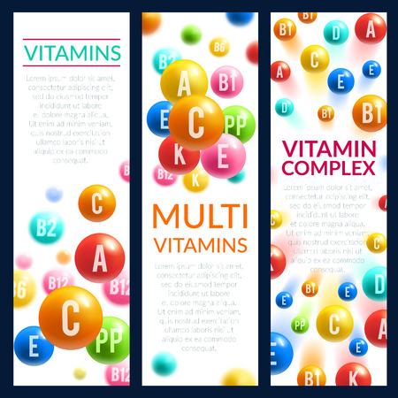 Vitamin and mineral complex pills vector banners Illusztráció