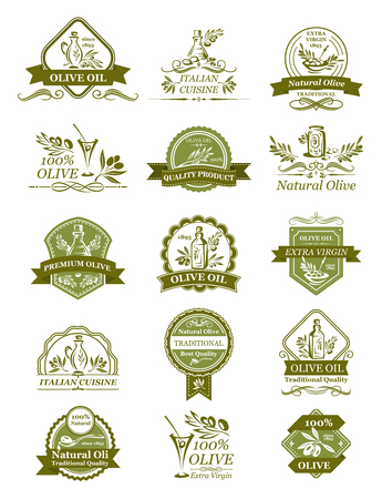 Vector olive icons of for organic olive oil Stok Fotoğraf - 90587474