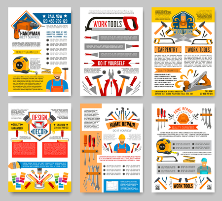 Vector house repair construction work tool posters Ilustração
