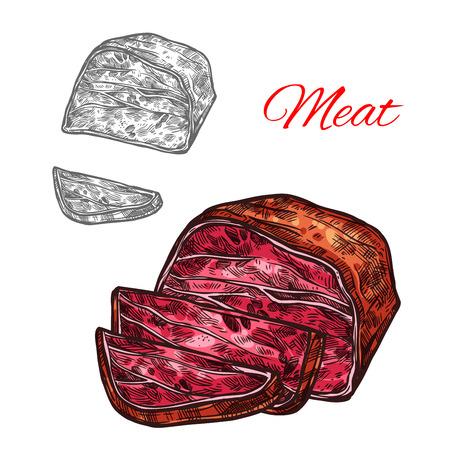 Vector sketch beef meat lump farm fresh icon
