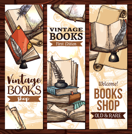 Vector sketch banners for old vintage books library Vectores