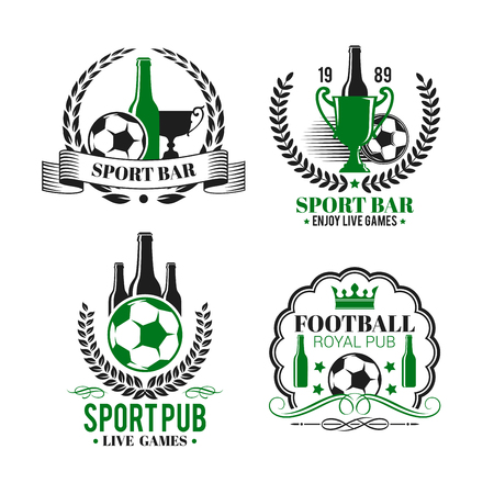 Vector icons for soccer bar or football sport pub Ilustracja