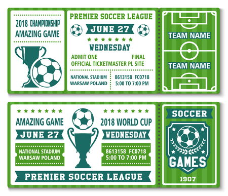 Vector tickets template soccer football cup 2018