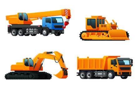 Vector icons of heavy machinery industry trucks