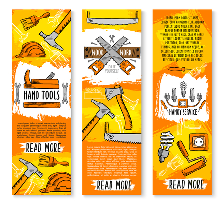 Vector construction handy work tools banners