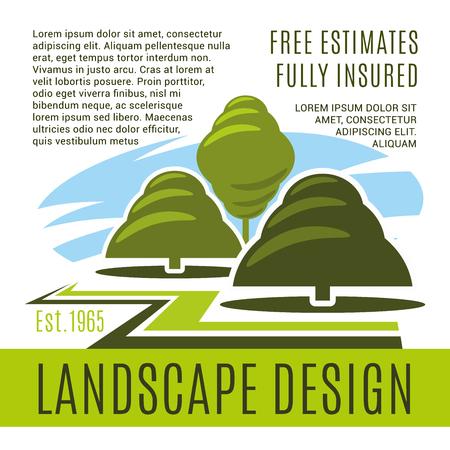 Vector poster voor landschapsontwerpbedrijf Stock Illustratie
