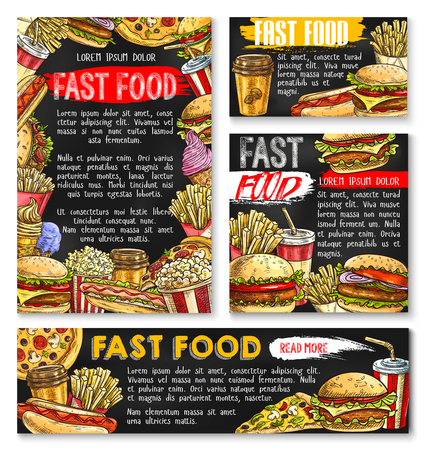 Fast food vector sketch posters fastfood burgers
