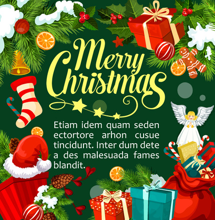 Merry Christmas wenskaart ontwerpsjabloon van gefeliciteerd en Xmas ornament decoraties. Vector de kous van de Kerstmangift, engel en gouden klokdecoratie op Kerstboom voor Nieuwjaarseizoen