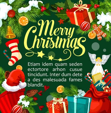 Plantilla de diseño de tarjeta de felicitación de feliz Navidad de felicitaciones y decoraciones de ornamento de Navidad. Vector Santa regalo media, ángel y decoración de campana de oro en el árbol de Navidad para la temporada de año nuevo Foto de archivo - 90747484