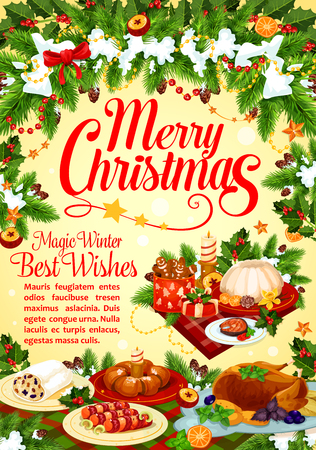 Christmas and New Year winter holidays greeting card with festive dinner and Xmas wreath. Turkey, pudding and gingerbread cookie, chocolate cake, fish and sweet bread for Christmas cuisine design Ilustração