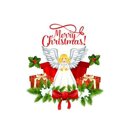 Il saluto di Buon Natale che segna con l'ornamento di angelo di Eva nella corona dell'albero di abete e l'arco del nastro. Vector l'icona isolata del contenitore di regalo sul fondo bianco della neve per progettazione di Natale o del nuovo anno Archivio Fotografico - 90750662