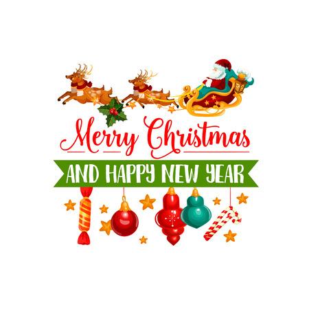 Christmas gift, Santa and reindeer sleigh icon