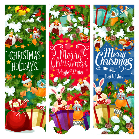 Christmas gift with New Year garland banner design