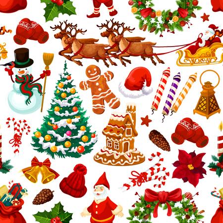 Kerstmis naadloos patroon van vectordecoratie Stock Illustratie