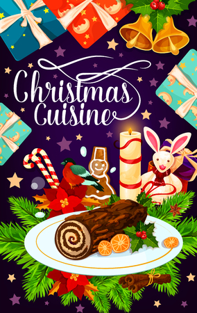 Christmas holiday gift and cake greeting card Illustration