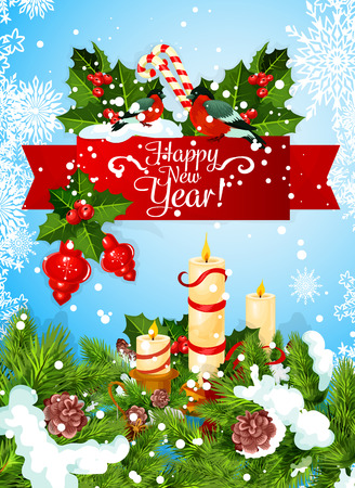 New Year greeting card with Christmas garland