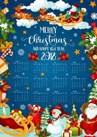 Christmas holiday calendar of 2018 New Year design