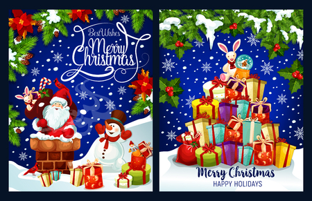 Merry Christmas greeting card design of Santa in chimney and snowman at Christmas tree with gift presents. Vector Xmas golden bell and candle on wreath decoration for New Year party or winter holidays Illustration