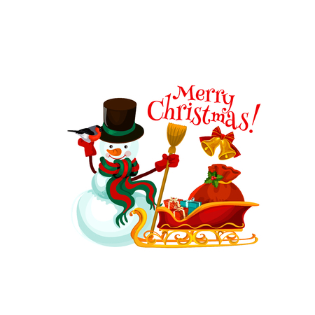 Merry Christmas icon of snowman with broom and Santa sleigh with New Year gifts bag. Vector isolated Christmas greeting text with winter holiday holly ornament on white snow background Illustration