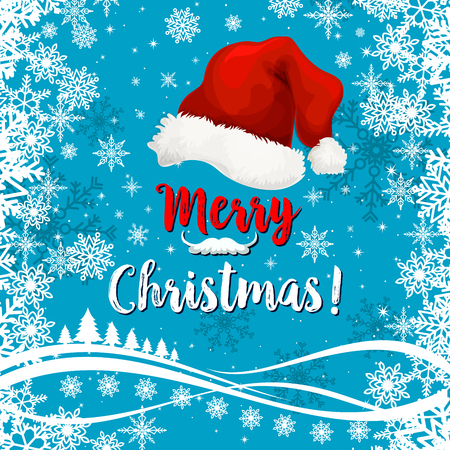 Merry Christmas lettering with Santa red hat on blue background of snow frost and snowflakes pattern. Vector design template for winter holidays of Christmas tree in ice frost Çizim