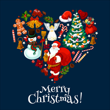 Merry Christmas greeting card of heart with winter holiday symbols of Santa and gift bag, Xmas tree decoration and ornaments. Vector Christmas snowman and angel on blue celebration background Stock Illustratie