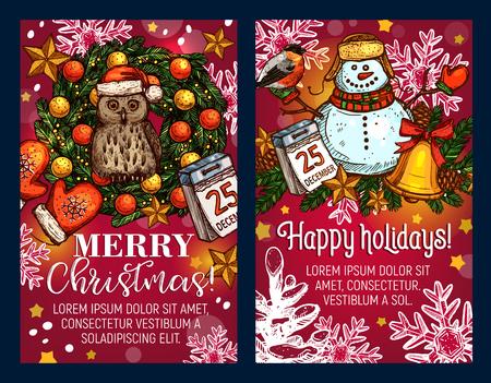 Christmas holiday sketch vector greeting card