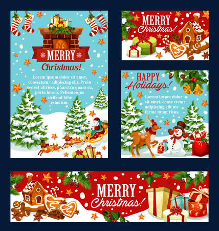 Christmas holiday card with Santa, snowman, gift Vectores