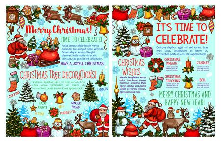 メリークリスマスウィッシュベクトルグリーティングカードスケッチ  イラスト・ベクター素材