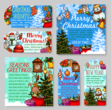 Christmas and New Year holiday gift tag and greeting card set. Xmas tree, present and snowman, bell, star and snowflake, candy, ball and cookie, snow and ribbon sketch for Xmas banner and label design Illustration