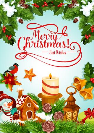 クリスマスホリデーキャンドルとクリスマスツリーカードのデザイン。  イラスト・ベクター素材