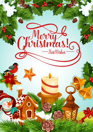 Christmas holiday candle and Xmas tree card design. Vectores