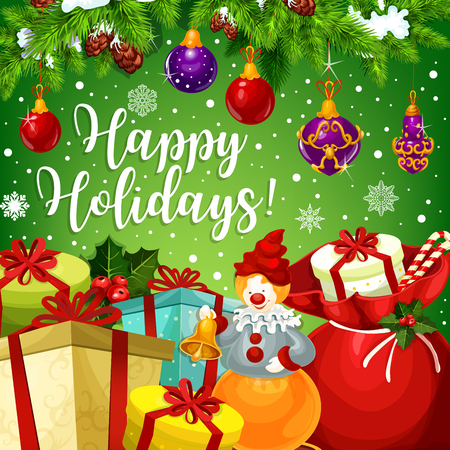 행복 한 겨울 휴일 메리 크리스마스 또는 새 해 최고의 소망 시즌 인사말 카드 디자인. 벡터 산타 선물 크리스마스 트리 장식, 홀리 화 환, 사탕 쿠키 및