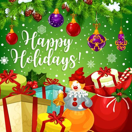 Gelukkig de vakantieontwerp van de de wintervakantie voor Vrolijk Kerstmis of Nieuwjaar beste wensseizoen. Vector Santa huidige geschenken onder kerstboom ballen decoratie, hulst krans, snoep cookie en sneeuwvlokken.