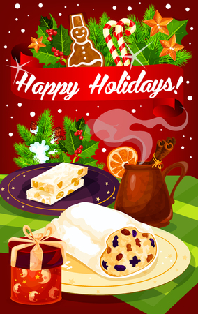 Christmas and New Year dinner festive poster of winter holiday celebration. Fruit cake with gift box, mulled wine and nut dessert greeting card, adorned by Xmas garland, holly, candy and ribbon banner Illustration