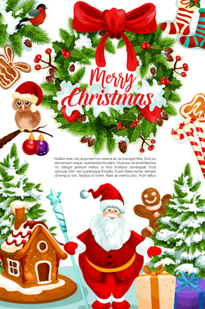 Christmas greeting card of gift, wreath and Santa