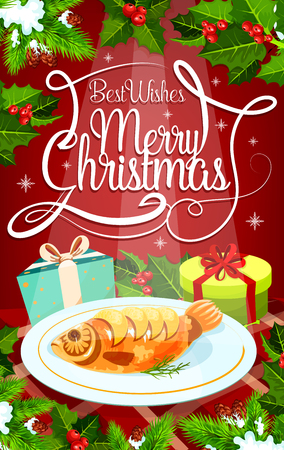 Christmas Eve dinner greeting card with gift and baked fish. Stuffed carp and present box on festive table, decorated with Xmas tree and holly branch, snowflake and ribbon for invitation banner design