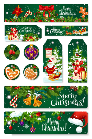Merry Christmas greeting banners , cards and fit tags design for seasonal winter holiday wishes. Vector Santa gifts on sleigh, New Year decoration garland of golden bell and star on Christmas tree