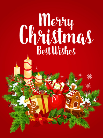 Christmas banner of New Year garland with gifts