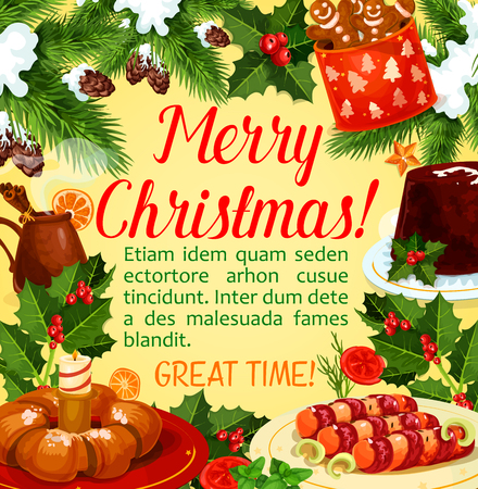 Christmas holiday dinner poster with Xmas dessert
