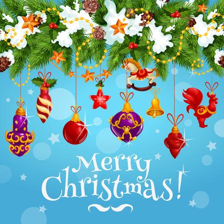 크리스마스 축하 소원 벡터 인사말 카드 일러스트