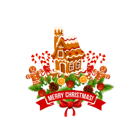 Merry Christmas vector ginger cookie house