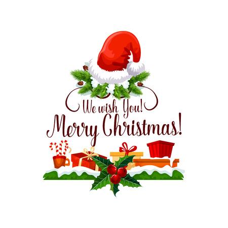 Vrolijk kerstfeest prettige vakantie ontwerp