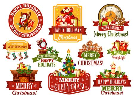 Merry Christmas wish vector greeting ribbon icons